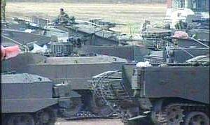IDF tanks assembled at the entrance to Gaza